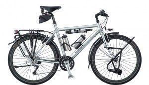 Bicicleta de cicloturismo totalmente equipada