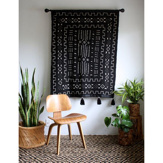Black Mudcloth Tapestry Mud Cloth Wall Hanging African Mudcloth Pom Pom Blanket Mudcloth Throw Tassel Tapestry Bohemian Home Decor (159.00 USD) by iheartnorwegianwood