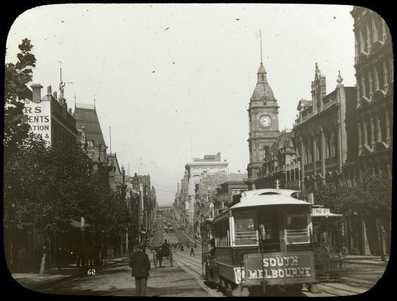 Collins Street, Melbourne, with cable trams, c1900-10. Photograph courtesy State…
