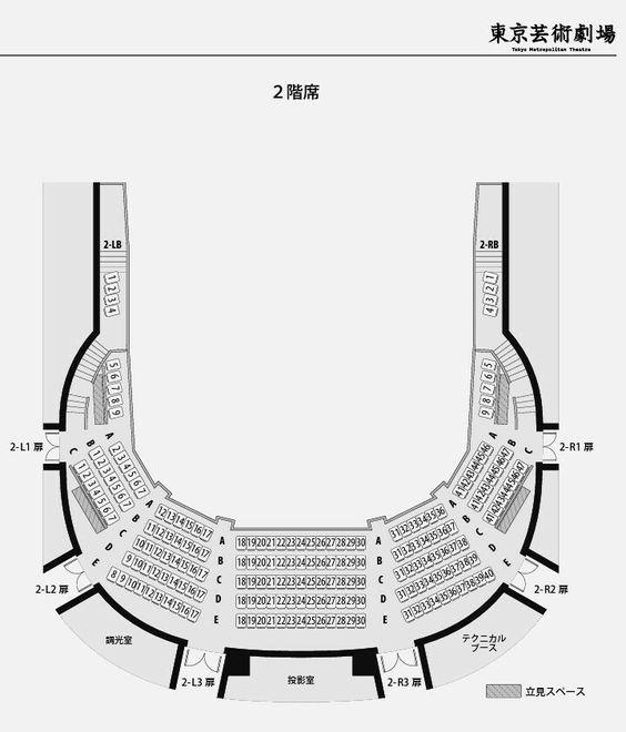 東京芸術劇場プレイハウス2階座席表