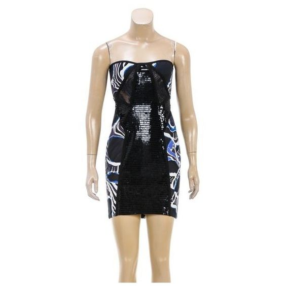 Pre-Owned Emilio Pucci Blue and Black Strapless Sequined Dress ($705) ❤ liked on Polyvore featuring dresses, black, strapless cocktail dresses, sequin dresses, emilio pucci dress, blue sequin cocktail dress and sequin cocktail dresses