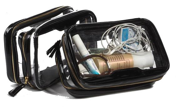 the clear inflight travel organiser bag - every girl must own at least one of these! They are super handy so you can see where everything is without trolling through it like a mad woman for last minute make up touch ups!