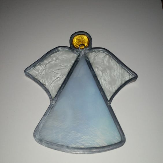 Vintage Stained Glass Angel ornament With Yellow Gem / Stained glass / Christmas /  Sun Catcher