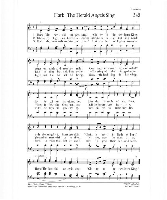 Halo Sheet Music With Lyrics: Hark The Herald Angels Sing Lyrics Music