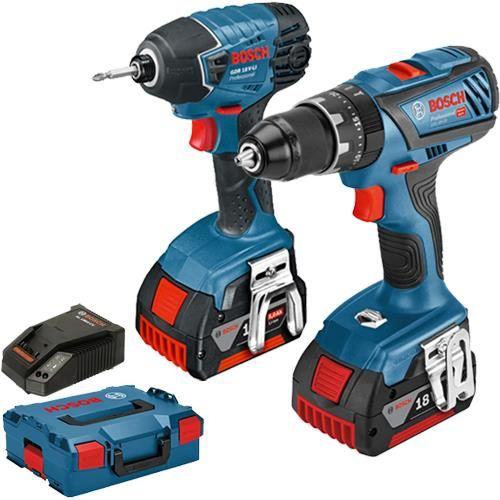 Click To Enlarge Bosch 18v Dynamicseries Gsb 18v 28 Combi Drill Gdr 18v Li Impact Driver Twin Pack With 2x 5 0ah Batteries Bosch Cordless Tools Tools
