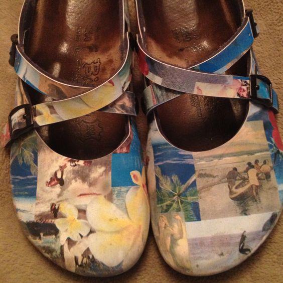 Annie's much loved Mary Jane Birkenstock's ... love the vacation art design!