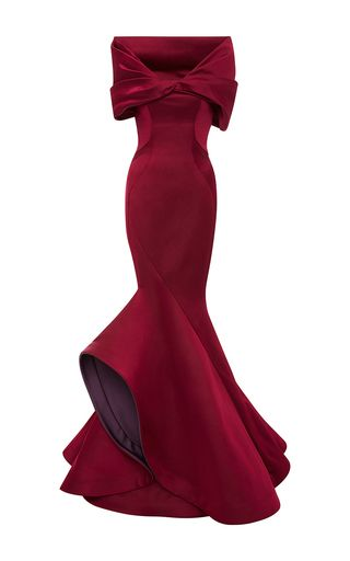 Double Face Duchesse Off The Shoulder Gown by ZAC POSEN for Preorder on Moda Operandi