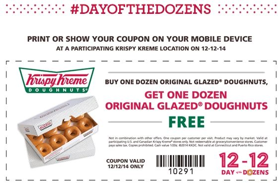 Pinned December 2nd: Second dozen doughnuts free the 12th at #KrispyKreme #coupon via The #Coupons App