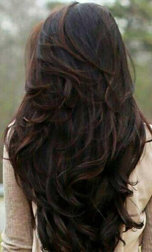 Dark Brown Long Layered Hair