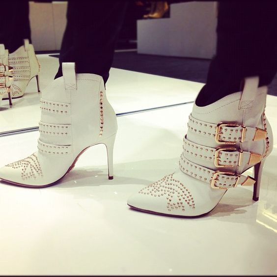 white studded booties