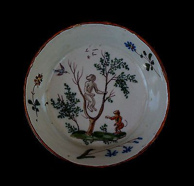 ANTIQUE FRENCH FAIENCE DISH MONKEYS ALLEMAGNE EN PROVENCE?