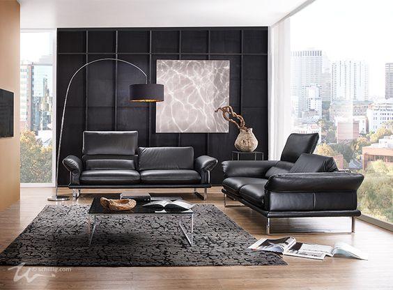 Sofas -2-3-, im Longlife Xtra by WSCHILLIG Leder Z 80, Farbe - designer moebel weiss baxter