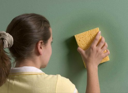 Solution to clean walls - 1 cup ammonia, 1/2 cup vinegar, and 1/4 cup baking soda to one gallon of warm water.