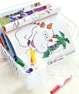 Dish rack as coloring book holder