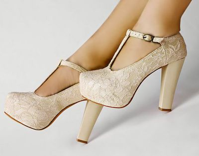 Details about Ivory Lace Wedding Wedge T-Strap Platform Women
