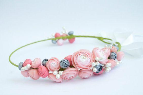 Floral Hair Wreath Pink White Silver Ranunculus Rose by eteniren, $52.30