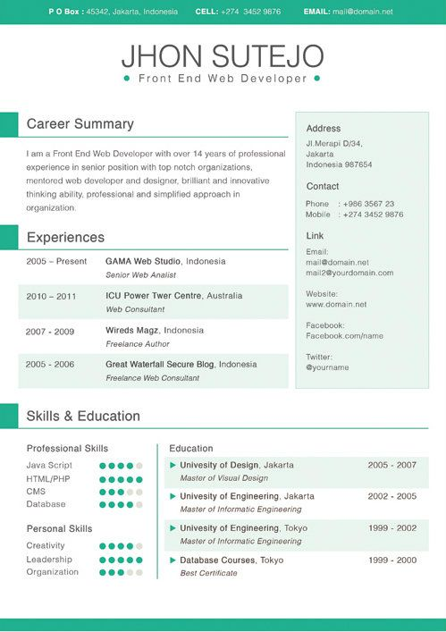 free page indesign resume template
