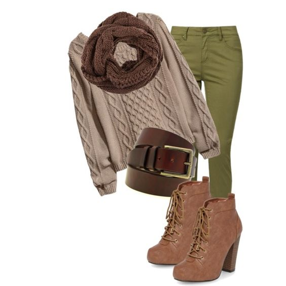 Olive pants with warm autumn pieces -trongaus on Polyvore These pants are a bit too green, more olive w the rest though <3.