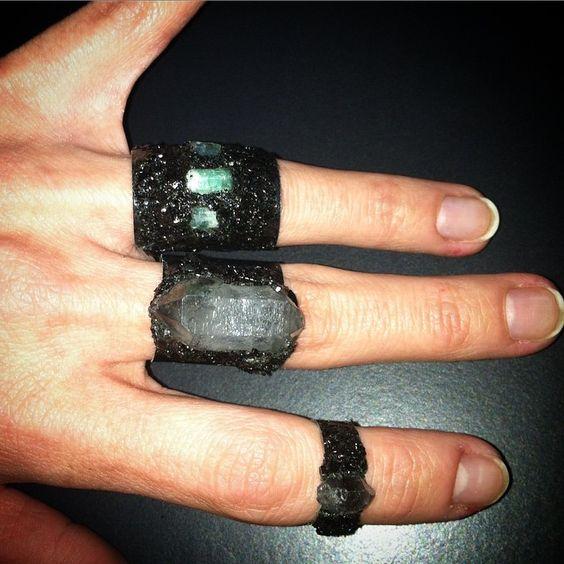 Elemental Luxury encrusted aluminum rings