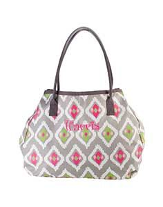 "One Trip Wonder - Gray Ikat  24""W x 18""H x 10""D  Enormous! Side snaps, magnetic snap closure. Microfiber"