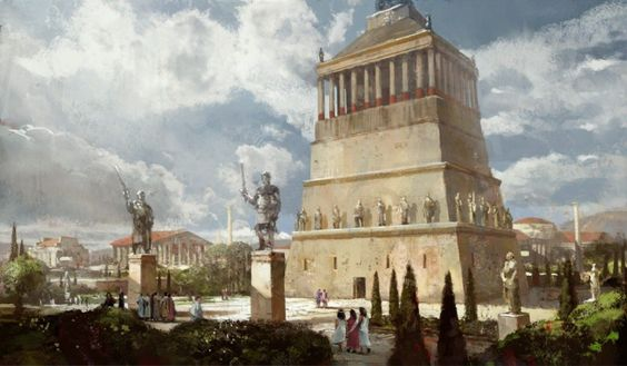 El Mausoleo de Halicarnaso  Fue construido cerca de 350 BCE como una tumba para el gobernante de Caria. Estaba situado en Turkey moderna, pero fue destruido por un terremoto.