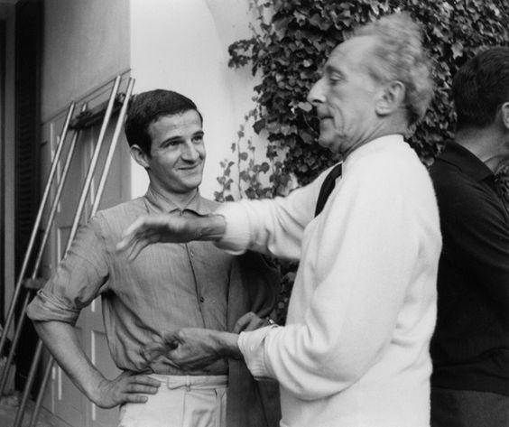 """cinemafrancais: """"François Truffaut & Jean Cocteau on the set of Testament d'Orphée, 1959 """""""