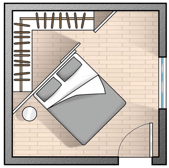 Ad angolo. Il minimo indispensabile, per moduli adeguatamente capienti e con tutto quel che serve è un triangolo con i lati da allestire lunghi 215 cm. Si ricava in questo modo anche lo spazio per l'apertura sulla parete libera.