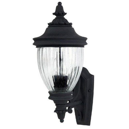 Capital Lighting 9762BK Battery Park 2-Light Outdoor Wall Mount Fixture Black with Seeded Glass ...