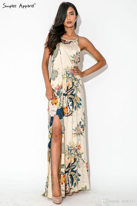 Sexy Summer Flower Dress Boho Style Print Long 2016 Women Elegant ...