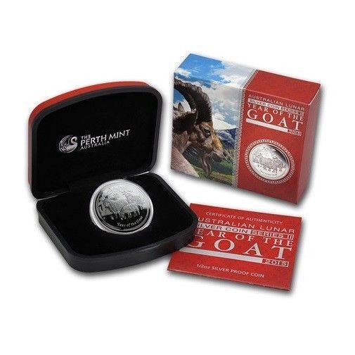 2015 Australia 1 2 Oz Silver Lunar Series The Year Of Goat Proof With Coa Box Proof Coins Silver Coins Goats