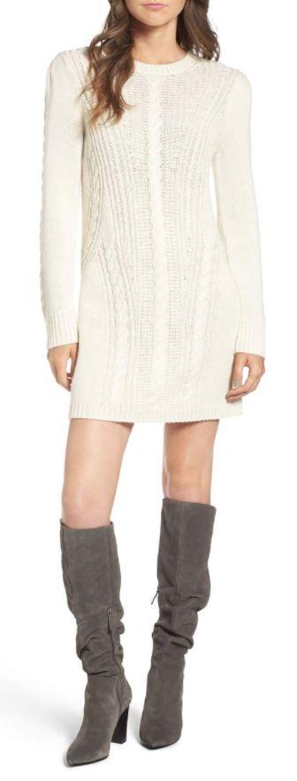 Treasure & Bond X Something Cream Sweater Dress