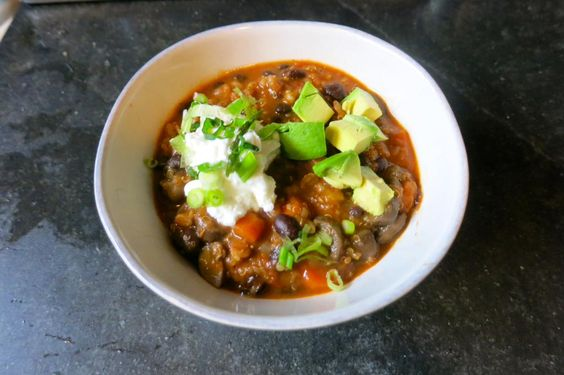 Veggie chili for lunch. Beans,barley and quinoa give the chili a hearty texture, protein and iron. @SpelmanWellness