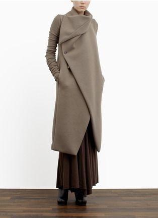 Rick Owens Lilies - Padded collar wool-blend coat. | Neutral and Brown Long Coats | Womenswear | Lane Crawford - Shop Designer Brands Online ($500-5000) - Svpply