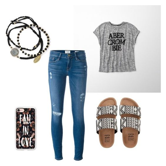 """""""Untitled #2"""" by nmarieo-1 ❤ liked on Polyvore featuring Billabong, Abercrombie & Fitch, Frame, Casetify and Feather & Stone"""