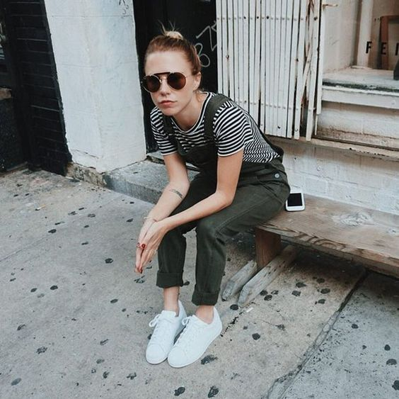 Pin for Later: The 30 Best Blogger Outfits From Fashion Week, According to Instagram Slouchy Rolled Overalls, a Striped Tee, and Casual Sneakers Blogger: Always Judging Likes: 4,682