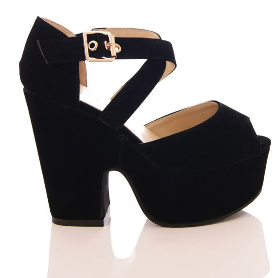 Details about LADIES WOMENS CHUNKY HIGH HEEL DEMI WEDGE PLATFORM ...