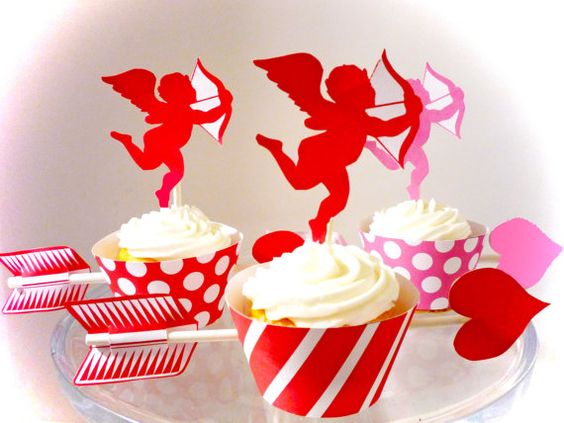 Valentines Day Printable Party Cupid Cupcake Wrappers and Toppers