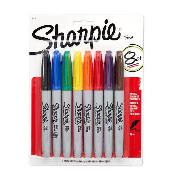 Sharpie Fine Point marqueurs permanents cardées 8/Pkg-divers coloris: Amazon.fr: Fournitures de bureau