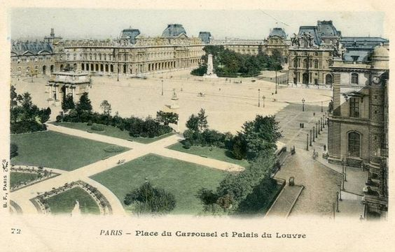 Une belle perspective de la place du Carrousel en direction du Louvre, vers 1900 (Paris 1er):