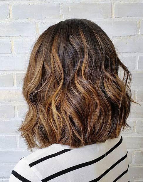Textured Lob Haircut + Balayage Highlights