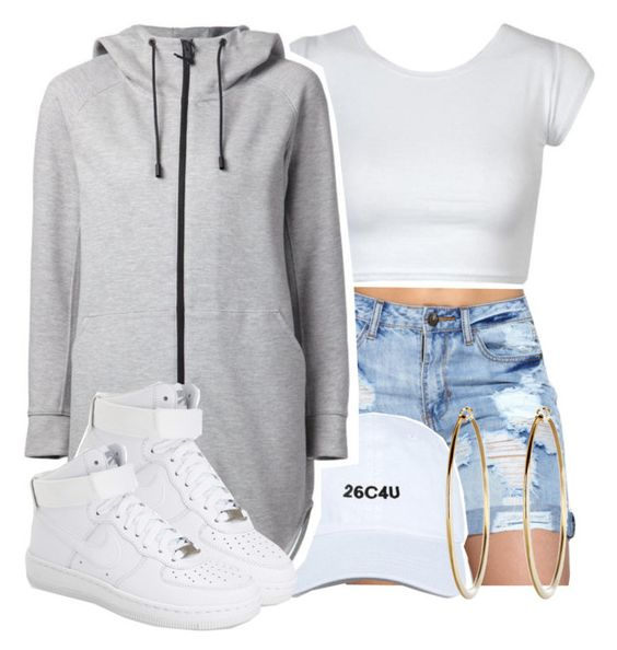 """""""he got you chasin water falls"""" by queen-tiller ❤ liked on Polyvore featuring THE RERACS and NIKE"""