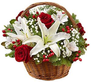 Fields of Europe / Christmas Basket: Inspired by the traditional bouquets found in bustling European flower markets this time of year, our florists have hand-arranged the freshest red roses, white lilies and greens inside a charming handled basket. Filled with the classic colors of Christmas, our exclusive bouquet is a wonderful gift to thank the party hostess or to use as a centerpiece in your own holiday home. www.bestflowers.com: