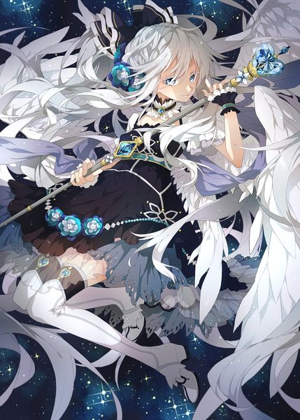 Anime picture 1166x1631 with original no (artist) long hair single tall image blue eyes fringe white hair holding hair flower grey hair night bent knee (knees) night sky angel wings white wings girl thighhighs dress hair ornament