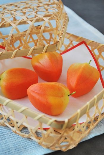 Hachiya Persimmon-shaped sweets, Japanese wagashi