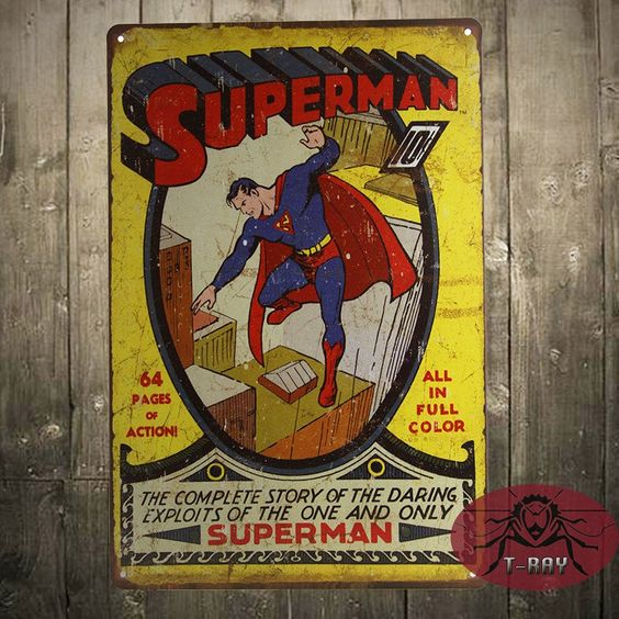 *NEW METAL DECOR* SUPERMAN superhero dc comic magazine cover costume retro style ,Street Rod,for the Garage, Man Cave