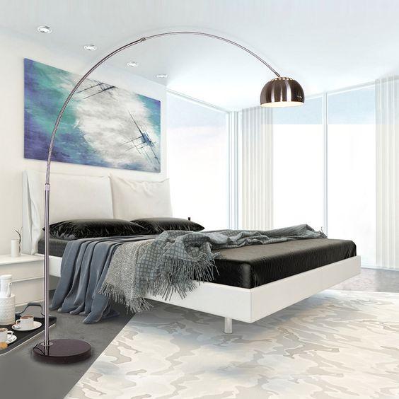Kaufen Stehlampe Modern Design Silber im Wohnzimmer Lesezimmer mit Günstigste Preis und Gute Service!