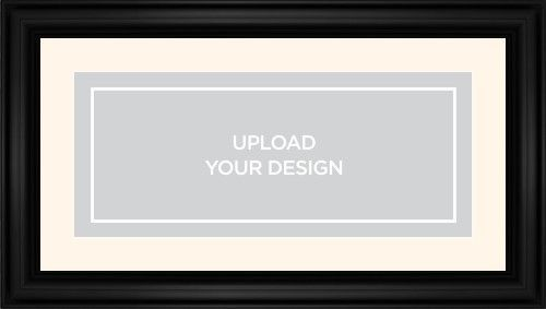 Upload Your Own Design Framed Print, Black, Classic, White, Cream, Single piece, 10 x 24 inches