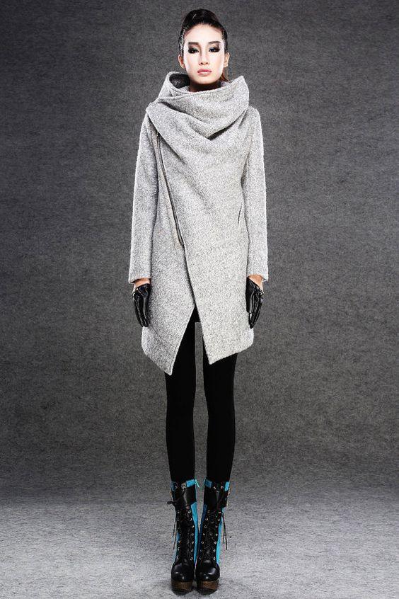 Moderne de laine gris manteau avec fermeture-éclair avant asymétrique et grande cheminée collier cou - femmes automne hiver vêtements C134