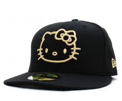 Hello kitty gold and black hat