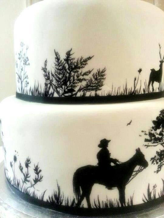 Hunting Scene Cake Decorations : Hand painted black and white hunting scene silhouette 2 ...